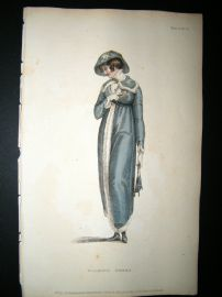 Ackermann 1811 Hand Col Regency Fashion Print. Walking Dress 5-4